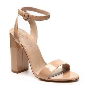 Nude Patent Leather Block Heel Sandals